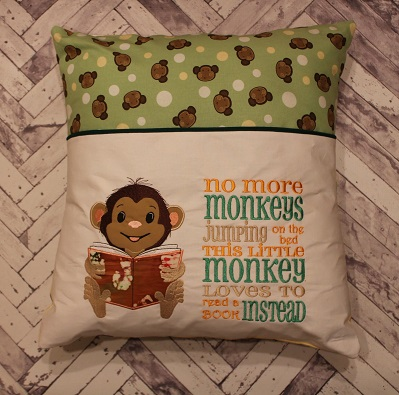 Little Monkey Reading Pocket Pillow