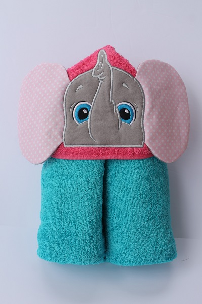 Pink Elephant Hooded Bath Towel