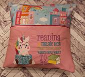 Unicorn Reading Pocket Pillow