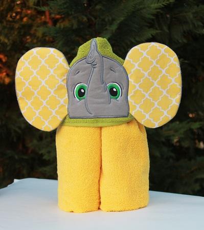 Yellow Elephant Hooded Bath Towel