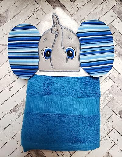 Blue Elephant Hooded Bath Towel