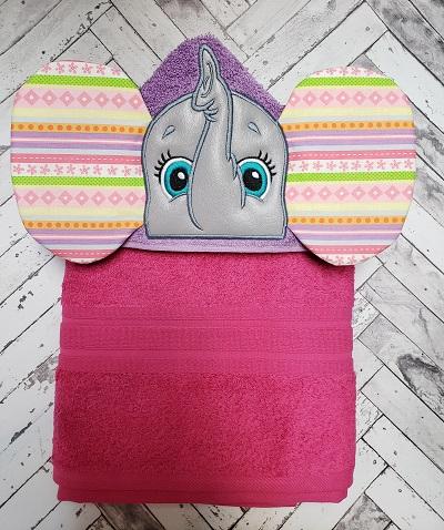 Pink Elephant Hooded Bath Towel